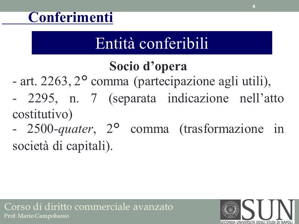 Socio dopera - art. 2263, 2° comma (partecipazione agli utili), - 2295, n. 7 (separata indicazione nellatto costitutivo) - 2500-quater, 2° comma (tras