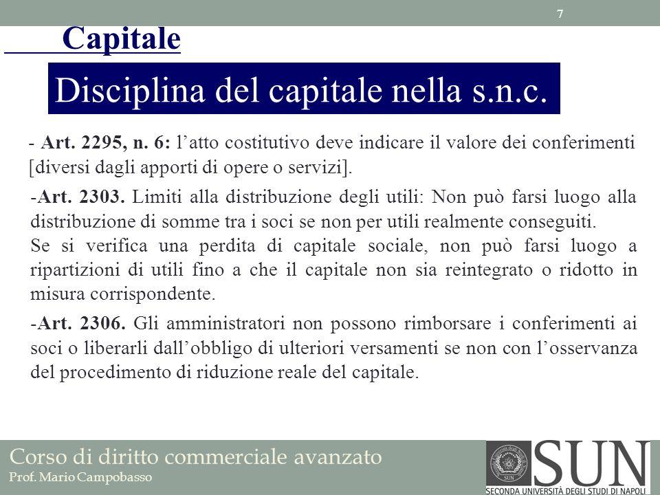 Capitale Disciplina del capitale nella s.n.c. - Art. 2295, n. 6: latto costitutivo deve indicare il valore dei conferimenti [diversi dagli apporti di