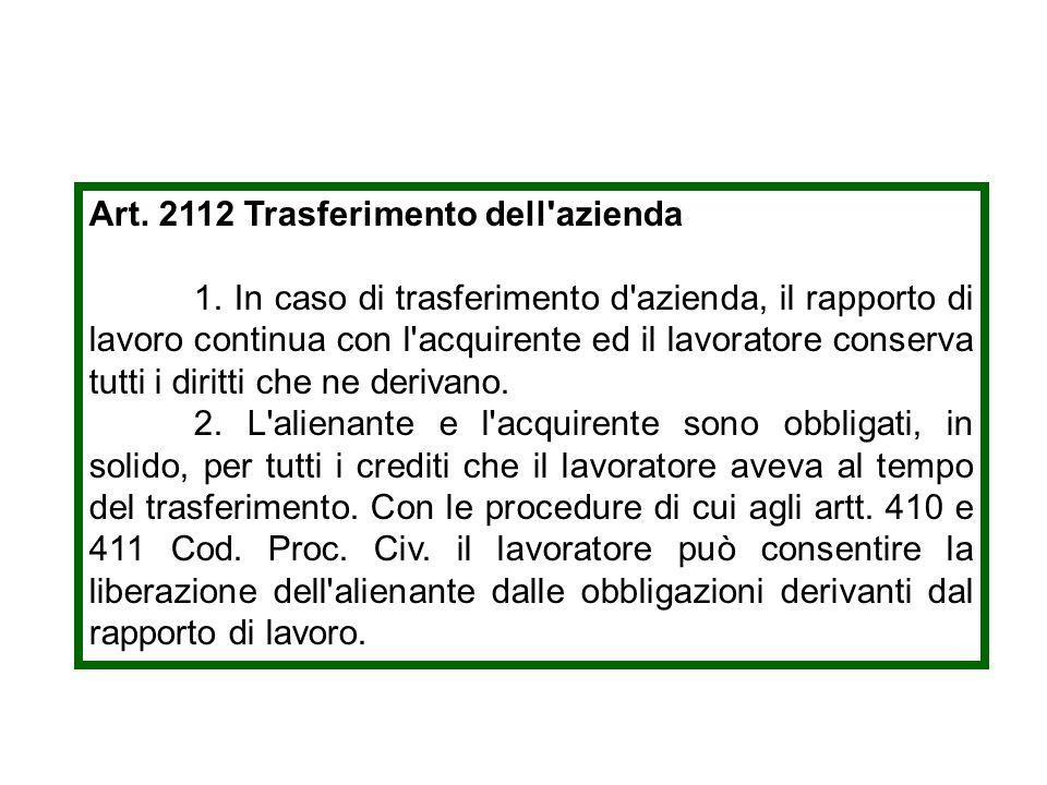Art. 2112 Trasferimento dell'azienda 1. In caso di trasferimento d'azienda, il rapporto di lavoro continua con l'acquirente ed il lavoratore conserva