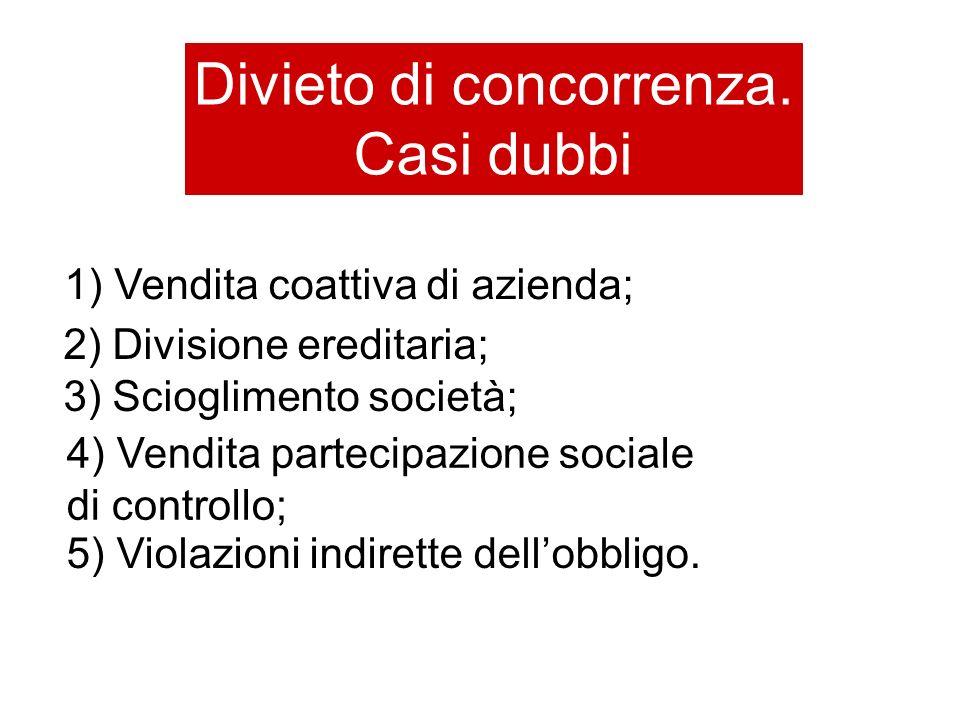 Divieto di concorrenza. Casi dubbi 1) Vendita coattiva di azienda; 2) Divisione ereditaria; 3) Scioglimento società; 4) Vendita partecipazione sociale