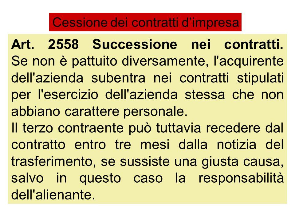 Art. 2558 Successione nei contratti. Se non è pattuito diversamente, l'acquirente dell'azienda subentra nei contratti stipulati per l'esercizio dell'a