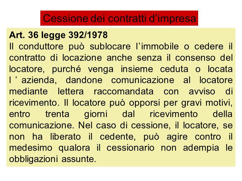 Art. 36 legge 392/1978 Il conduttore può sublocare limmobile o cedere il contratto di locazione anche senza il consenso del locatore, purché venga ins