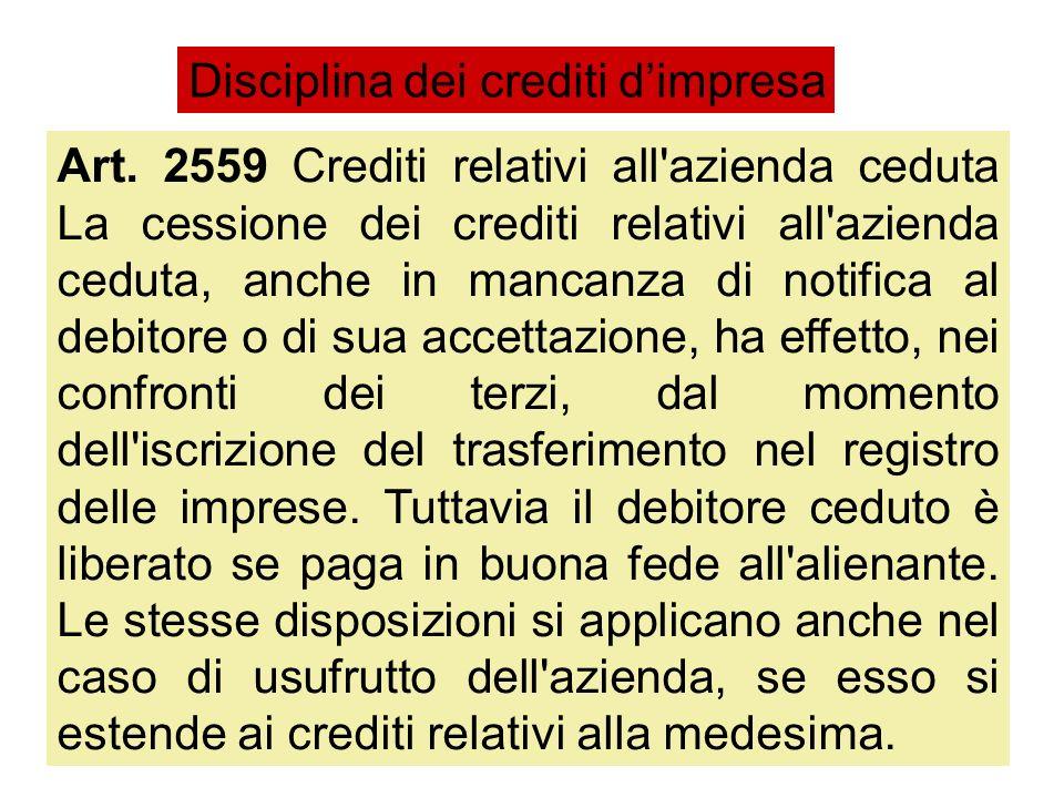 Art. 2559 Crediti relativi all'azienda ceduta La cessione dei crediti relativi all'azienda ceduta, anche in mancanza di notifica al debitore o di sua