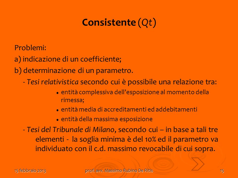 15 febbraio 2013prof. avv. Massimo Rubino De Ritis15 Consistente (Qt) Problemi: a) indicazione di un coefficiente; b) determinazione di un parametro.