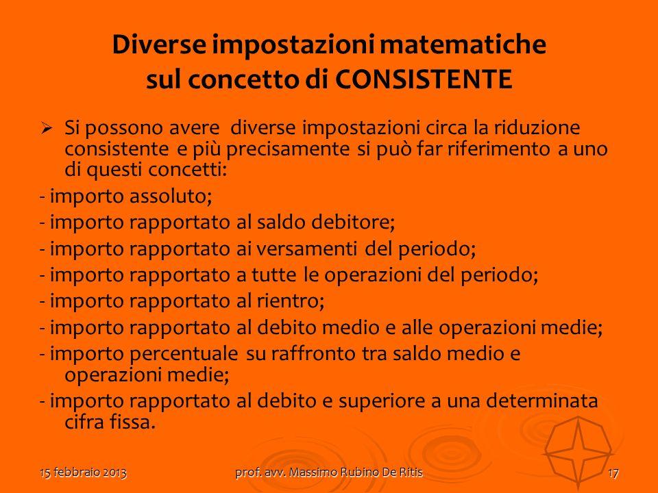 15 febbraio 2013prof. avv. Massimo Rubino De Ritis17 Diverse impostazioni matematiche sul concetto di CONSISTENTE Si possono avere diverse impostazion