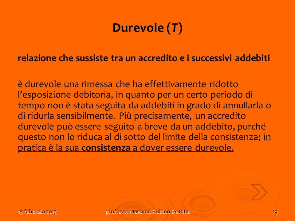 15 febbraio 2013prof. avv. Massimo Rubino De Ritis19 Durevole (T) relazione che sussiste tra un accredito e i successivi addebiti è durevole una rimes