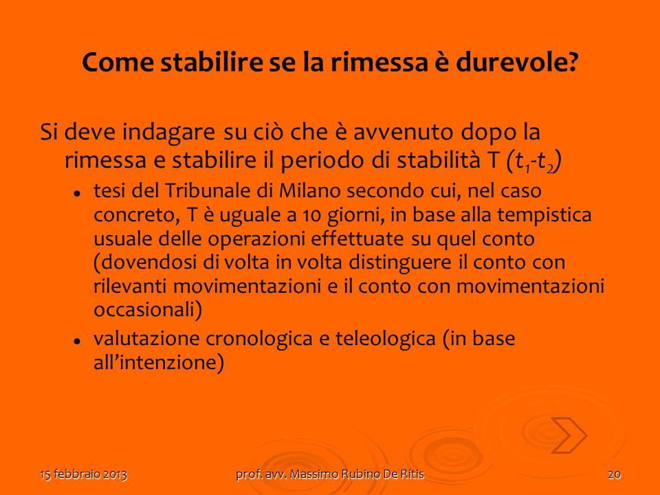 15 febbraio 2013prof. avv. Massimo Rubino De Ritis20 Come stabilire se la rimessa è durevole? Si deve indagare su ciò che è avvenuto dopo la rimessa e
