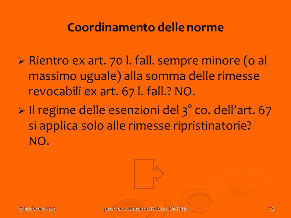 15 febbraio 2013prof. avv. Massimo Rubino De Ritis28 Coordinamento delle norme Rientro ex art. 70 l. fall. sempre minore (o al massimo uguale) alla so
