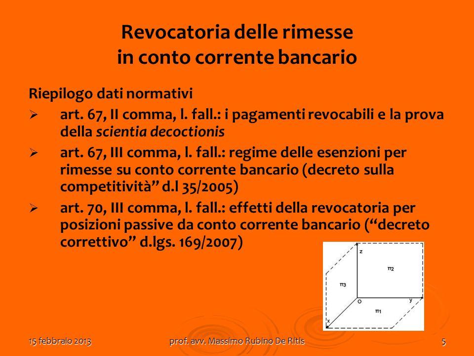 15 febbraio 2013prof. avv. Massimo Rubino De Ritis5 Revocatoria delle rimesse in conto corrente bancario Riepilogo dati normativi art. 67, II comma, l