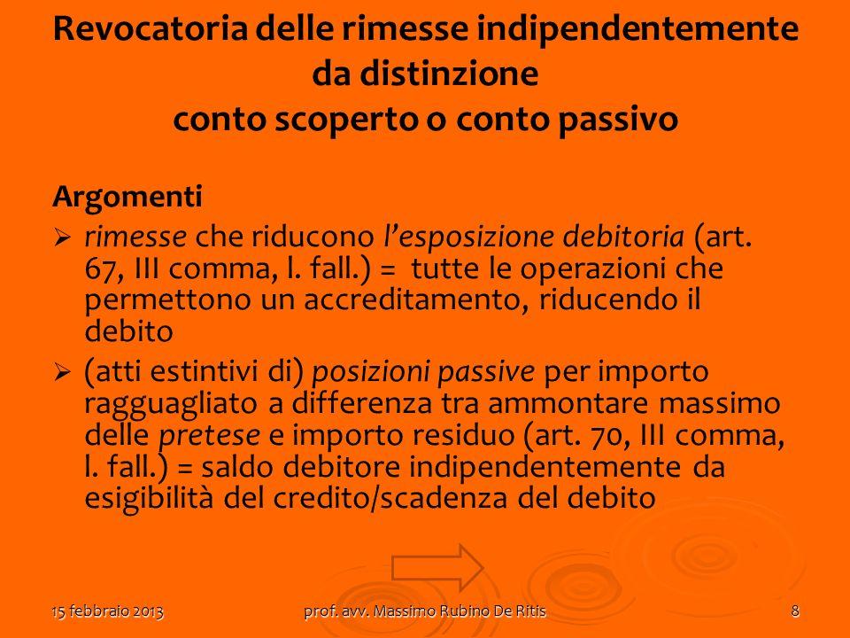15 febbraio 2013prof. avv. Massimo Rubino De Ritis8 Revocatoria delle rimesse indipendentemente da distinzione conto scoperto o conto passivo Argoment
