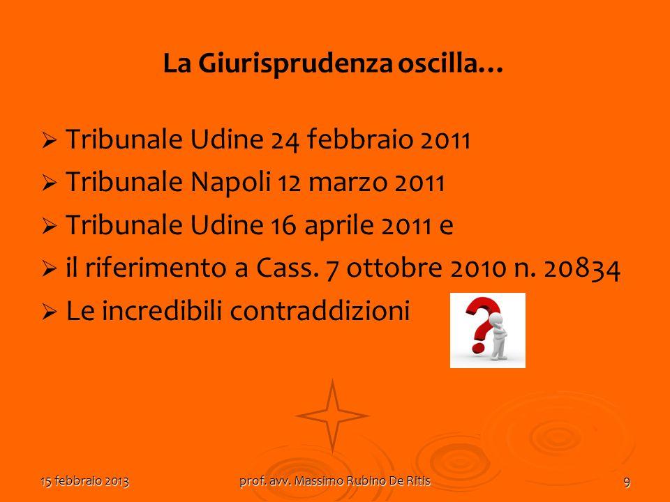 15 febbraio 2013prof. avv. Massimo Rubino De Ritis9 La Giurisprudenza oscilla… Tribunale Udine 24 febbraio 2011 Tribunale Napoli 12 marzo 2011 Tribuna