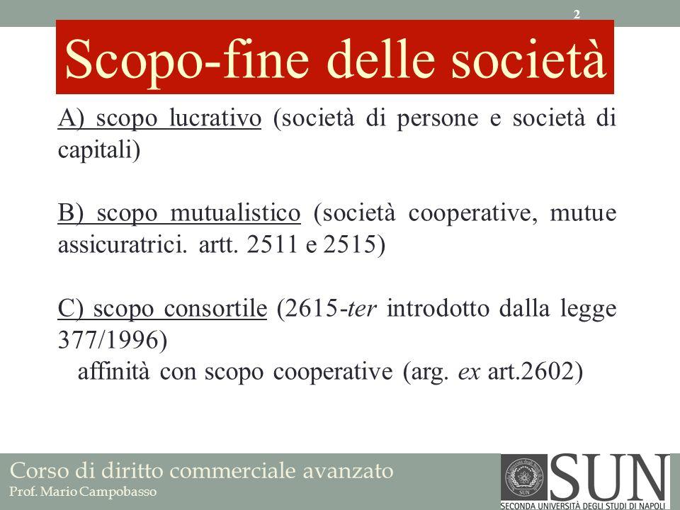 A) scopo lucrativo (società di persone e società di capitali) B) scopo mutualistico (società cooperative, mutue assicuratrici.