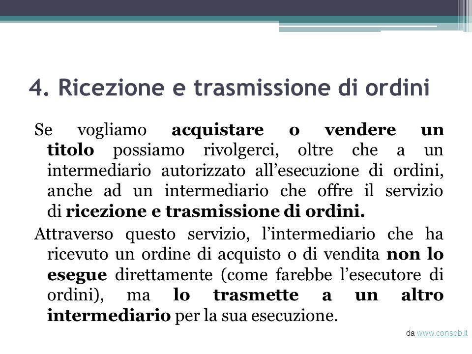 4. Ricezione e trasmissione di ordini Se vogliamo acquistare o vendere un titolo possiamo rivolgerci, oltre che a un intermediario autorizzato allesec