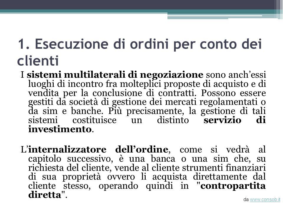 1. Esecuzione di ordini per conto dei clienti I sistemi multilaterali di negoziazione sono anchessi luoghi di incontro fra molteplici proposte di acqu