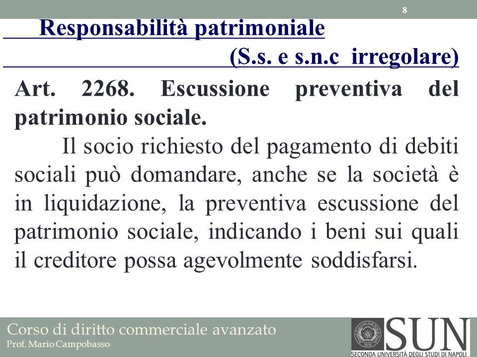 Art. 2268. Escussione preventiva del patrimonio sociale. Il socio richiesto del pagamento di debiti sociali può domandare, anche se la società è in li