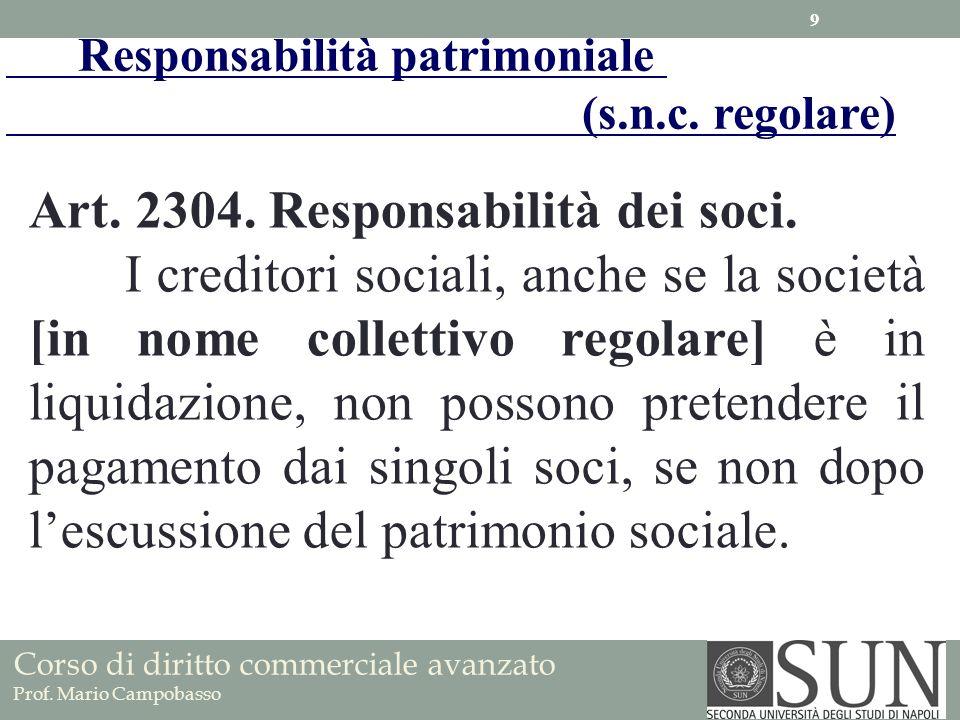 Art. 2304. Responsabilità dei soci. I creditori sociali, anche se la società [in nome collettivo regolare] è in liquidazione, non possono pretendere i