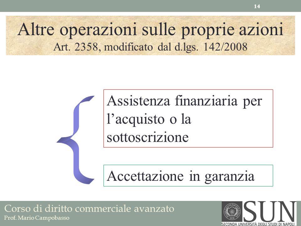 Corso di diritto commerciale avanzato Prof. Mario Campobasso Altre operazioni sulle proprie azioni Art. 2358, modificato dal d.lgs. 142/2008 Assistenz