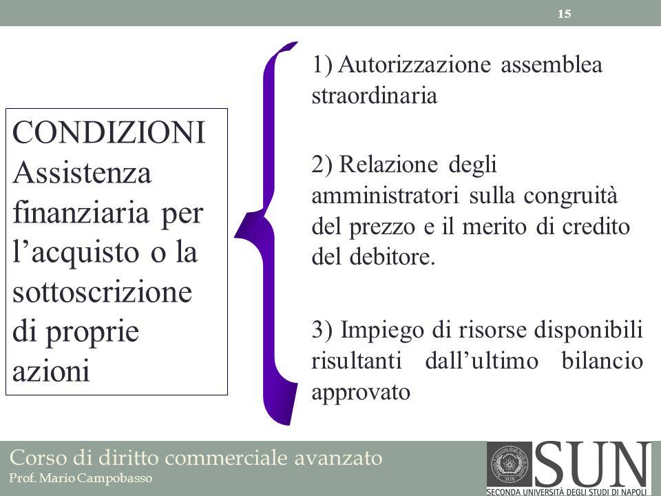 Corso di diritto commerciale avanzato Prof. Mario Campobasso 2) Relazione degli amministratori sulla congruità del prezzo e il merito di credito del d