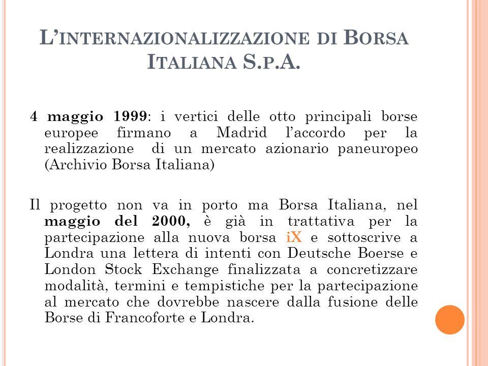 L INTERNAZIONALIZZAZIONE DI B ORSA I TALIANA S. P.A. 4 maggio 1999 : i vertici delle otto principali borse europee firmano a Madrid laccordo per la re