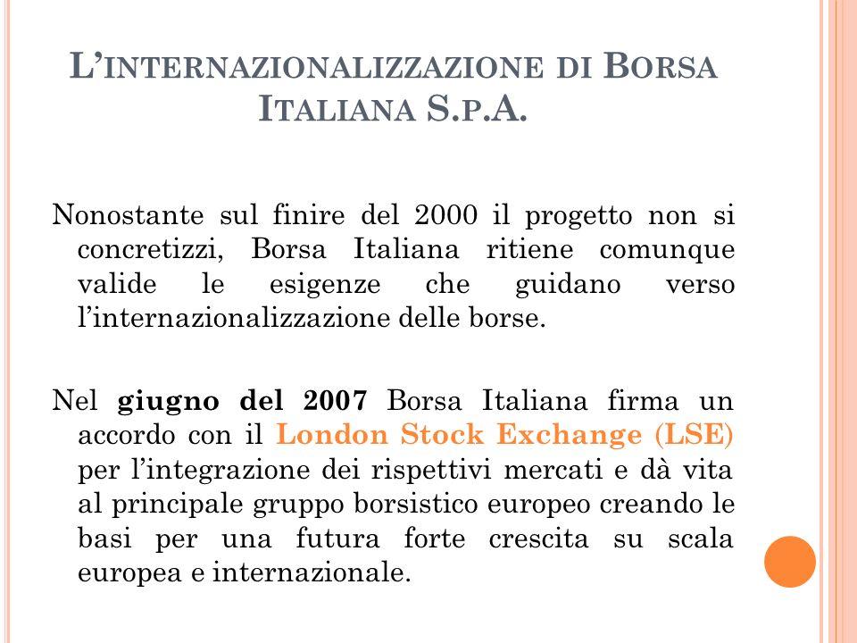L INTERNAZIONALIZZAZIONE DI B ORSA I TALIANA S. P.A. Nonostante sul finire del 2000 il progetto non si concretizzi, Borsa Italiana ritiene comunque va