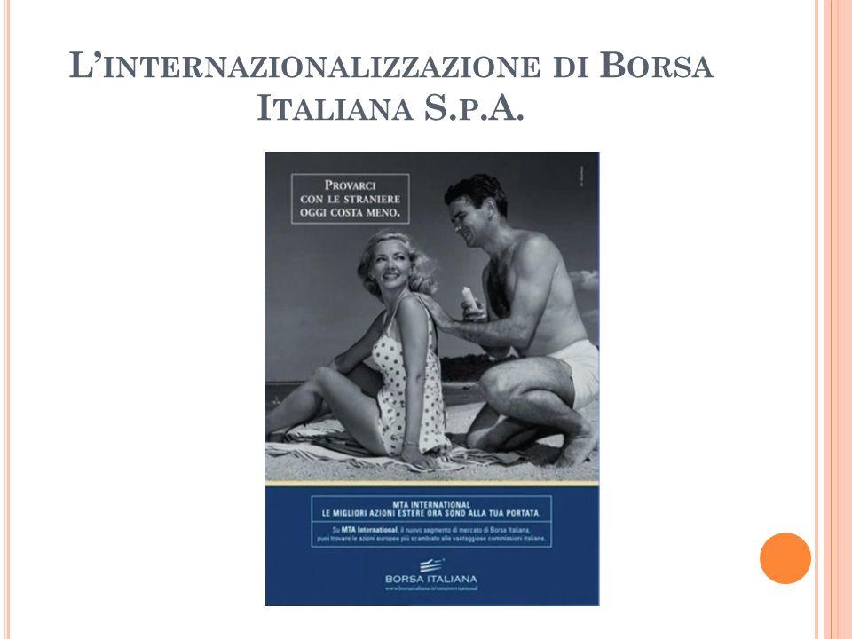 L INTERNAZIONALIZZAZIONE DI B ORSA I TALIANA S. P.A.