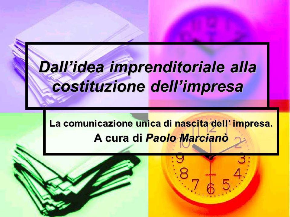 Dallidea imprenditoriale alla costituzione dellimpresa La comunicazione unica di nascita dell impresa.
