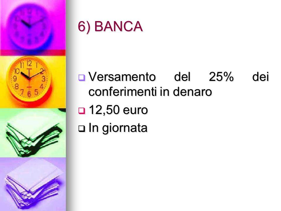 6) BANCA Versamento del 25% dei conferimenti in denaro 12,50 euro In giornata