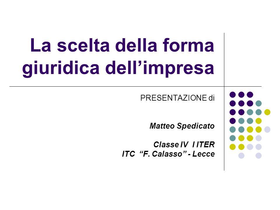 La scelta della forma giuridica dellimpresa PRESENTAZIONE di Matteo Spedicato Classe IV I ITER ITC F. Calasso - Lecce