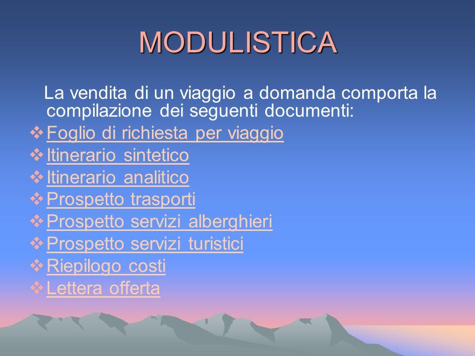 MODULISTICA La vendita di un viaggio a domanda comporta la compilazione dei seguenti documenti: Foglio di richiesta per viaggio Itinerario sintetico I