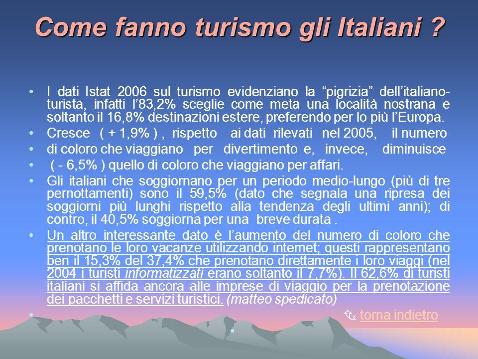 Come fanno turismo gli Italiani ? I dati Istat 2006 sul turismo evidenziano la pigrizia dellitaliano- turista, infatti l83,2% sceglie come meta una lo