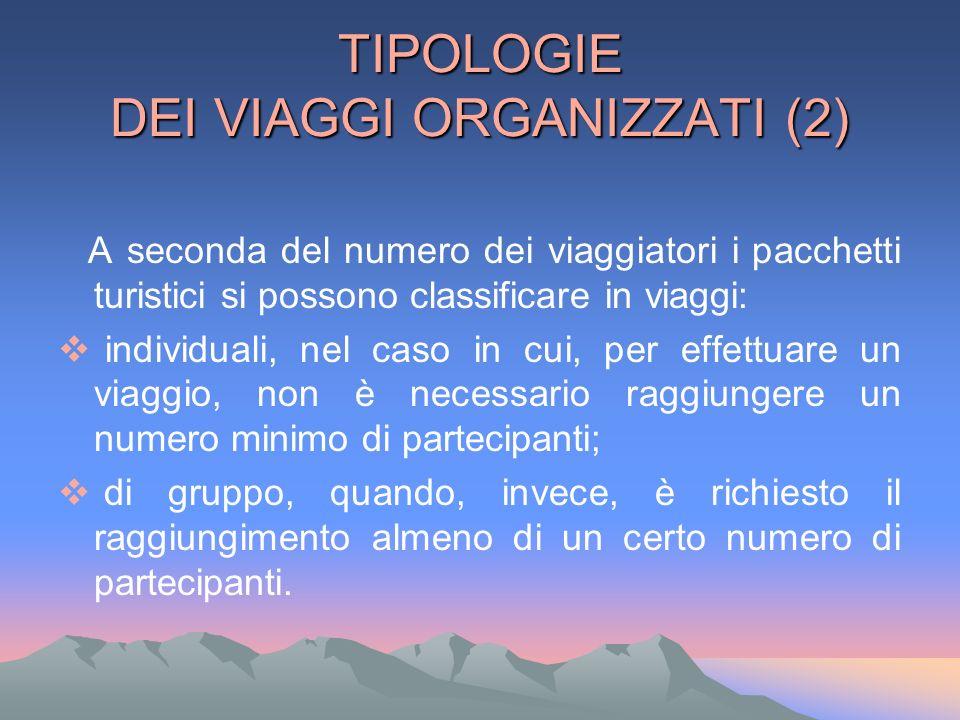 TIPOLOGIE DEI VIAGGI ORGANIZZATI (2) A seconda del numero dei viaggiatori i pacchetti turistici si possono classificare in viaggi: individuali, nel ca