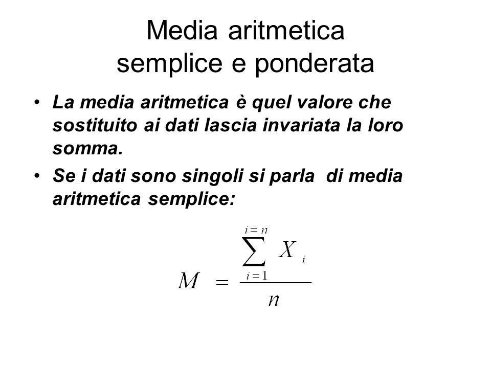 Media aritmetica semplice e ponderata La media aritmetica è quel valore che sostituito ai dati lascia invariata la loro somma. Se i dati sono singoli