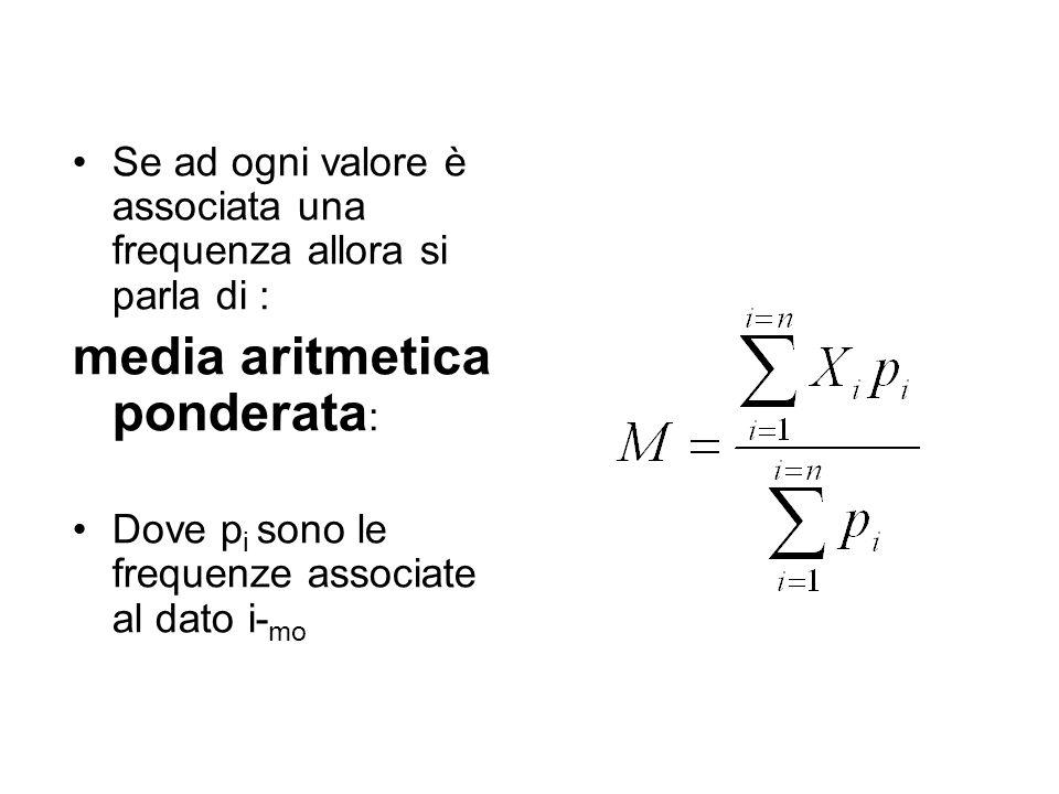 Se ad ogni valore è associata una frequenza allora si parla di : media aritmetica ponderata : Dove p i sono le frequenze associate al dato i- mo