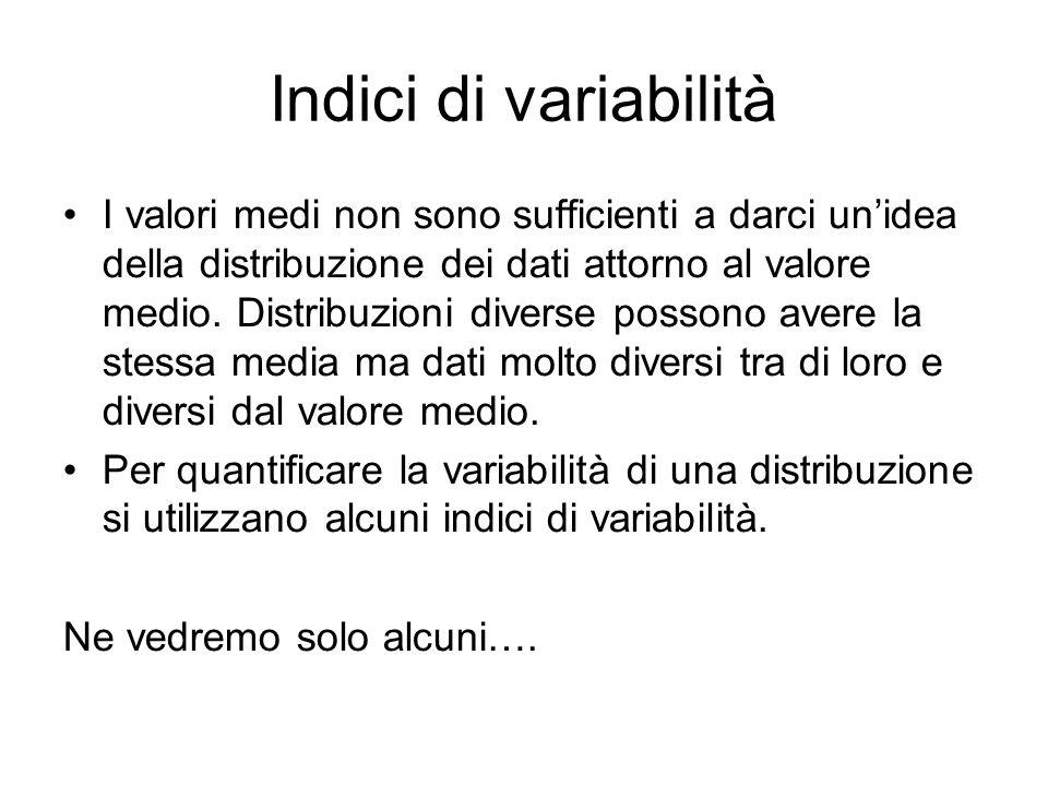 Indici di variabilità I valori medi non sono sufficienti a darci unidea della distribuzione dei dati attorno al valore medio. Distribuzioni diverse po