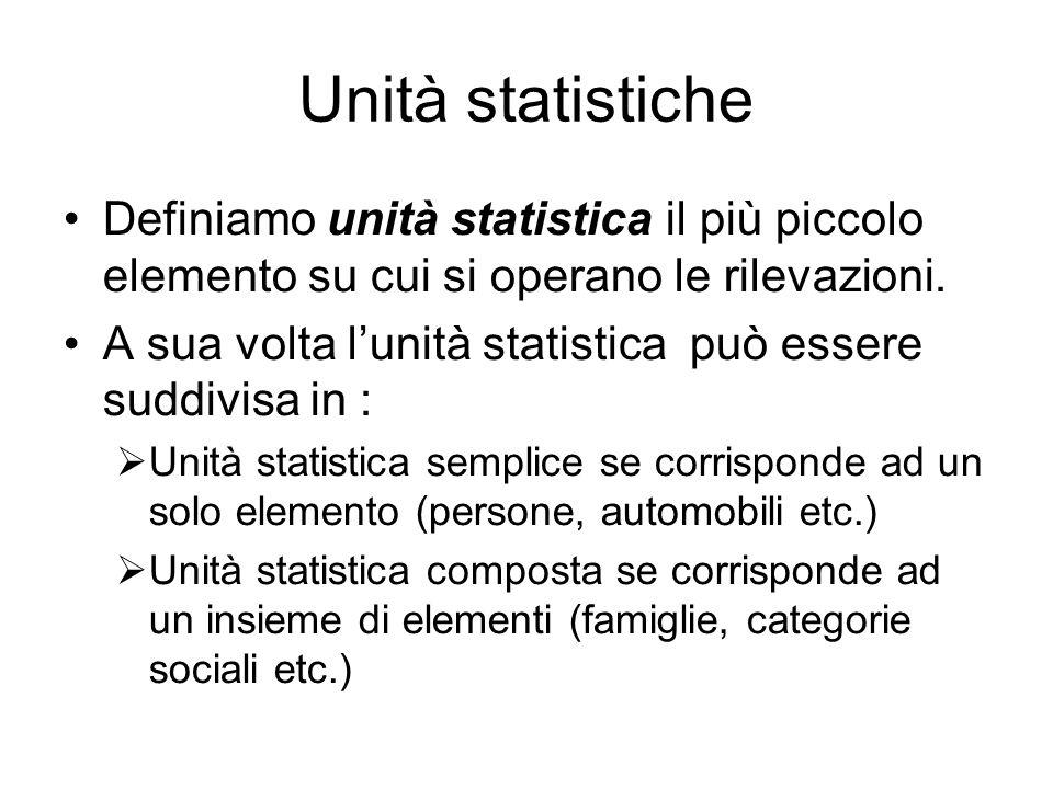 Unità statistiche Definiamo unità statistica il più piccolo elemento su cui si operano le rilevazioni. A sua volta lunità statistica può essere suddiv