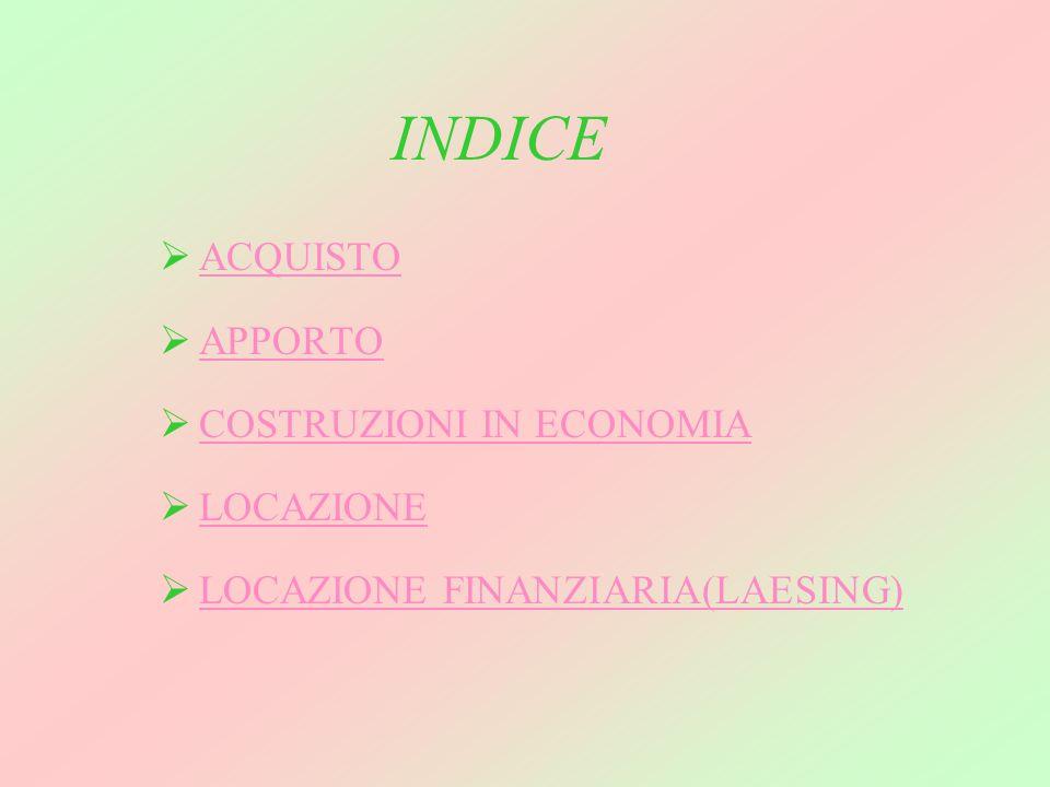 INDICE ACQUISTO APPORTO COSTRUZIONI IN ECONOMIA LOCAZIONE LOCAZIONE FINANZIARIA(LAESING)