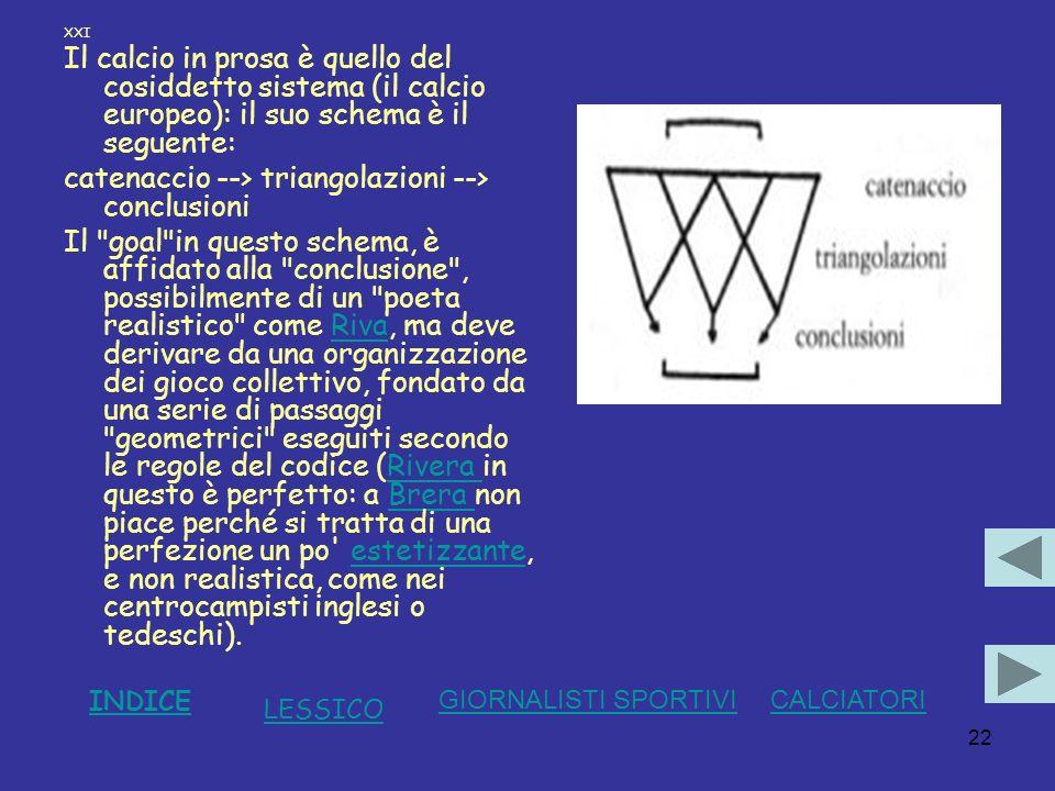 22 XXI Il calcio in prosa è quello del cosiddetto sistema (il calcio europeo): il suo schema è il seguente: catenaccio --> triangolazioni --> conclusi