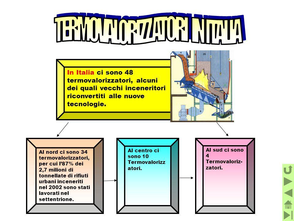 In Italia ci sono 48 termovalorizzatori, alcuni dei quali vecchi inceneritori riconvertiti alle nuove tecnologie. Al nord ci sono 34 termovalorizzator