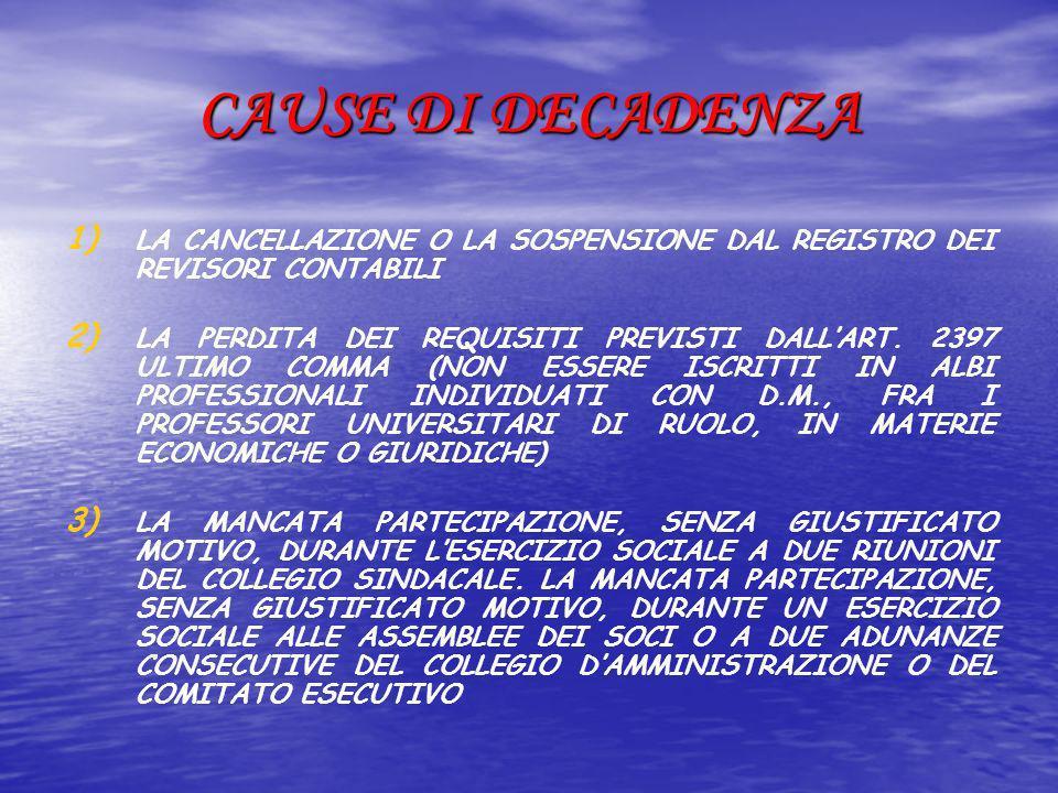 CAUSE DI DECADENZA 1) 1) LA CANCELLAZIONE O LA SOSPENSIONE DAL REGISTRO DEI REVISORI CONTABILI 2) 2) LA PERDITA DEI REQUISITI PREVISTI DALLART. 2397 U