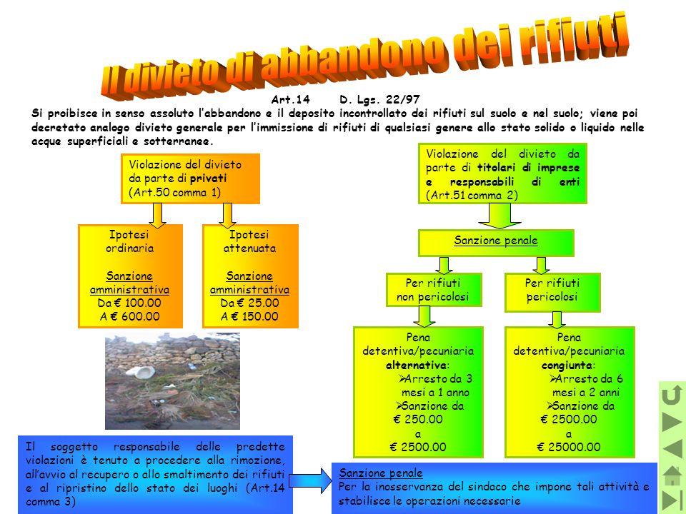 Art.14D. Lgs. 22/97 Si proibisce in senso assoluto labbandono e il deposito incontrollato dei rifiuti sul suolo e nel suolo; viene poi decretato analo