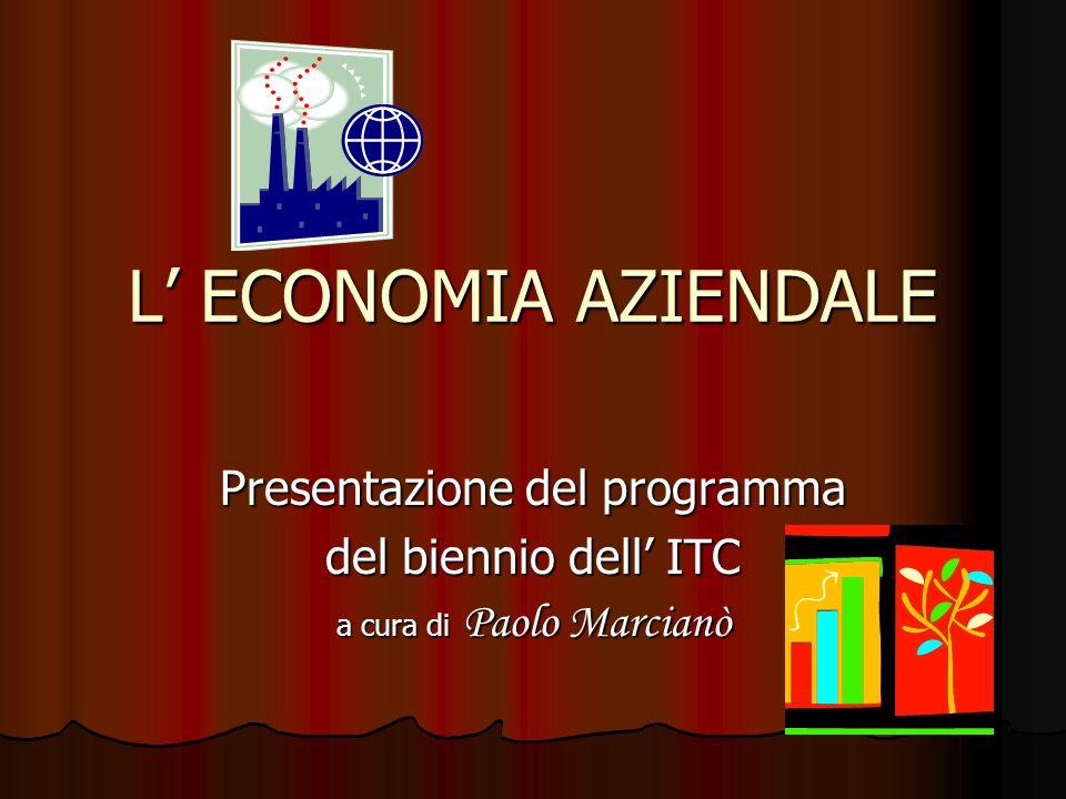 L ECONOMIA AZIENDALE Presentazione del programma del biennio dell ITC a cura di Paolo Marcianò