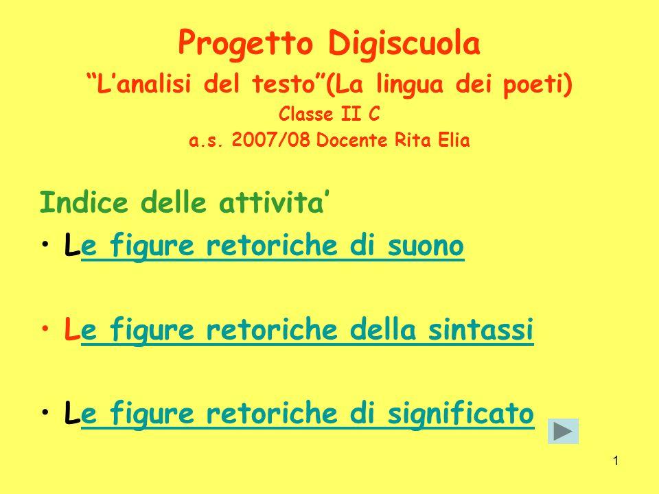 1 Progetto Digiscuola Lanalisi del testo(La lingua dei poeti) Classe II C a.s.