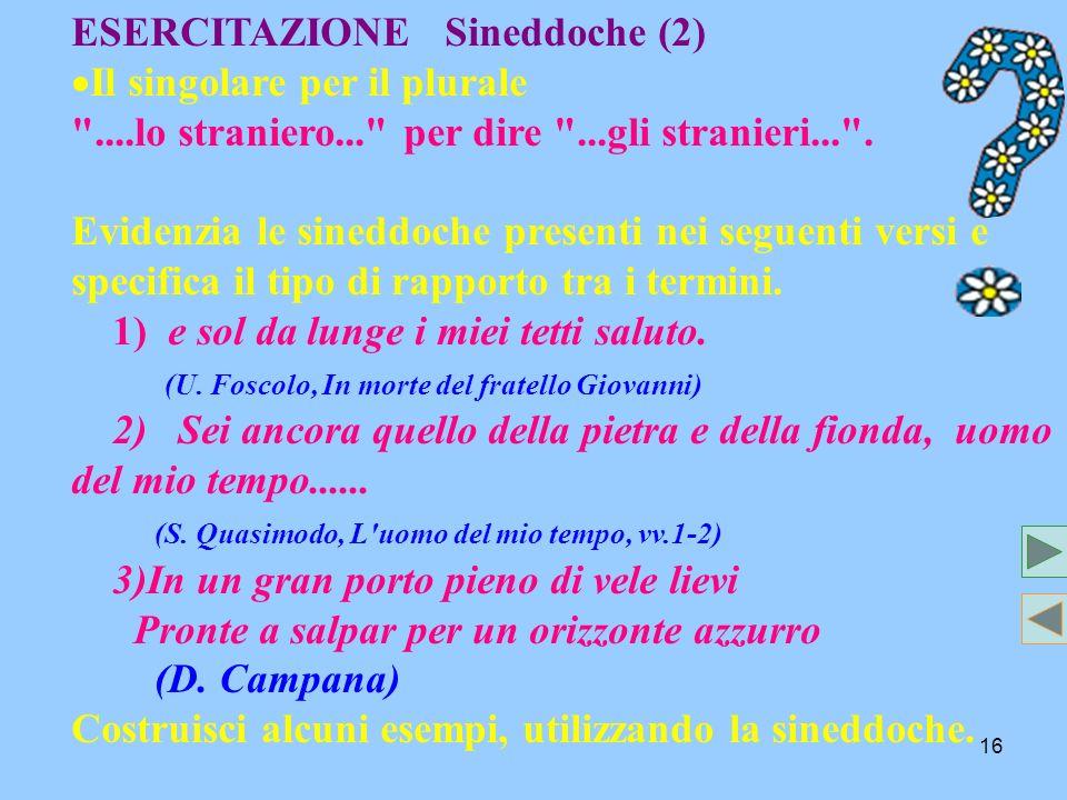 16 ESERCITAZIONE Sineddoche (2) I l singolare per il plurale ....lo straniero... per dire ...gli stranieri... .
