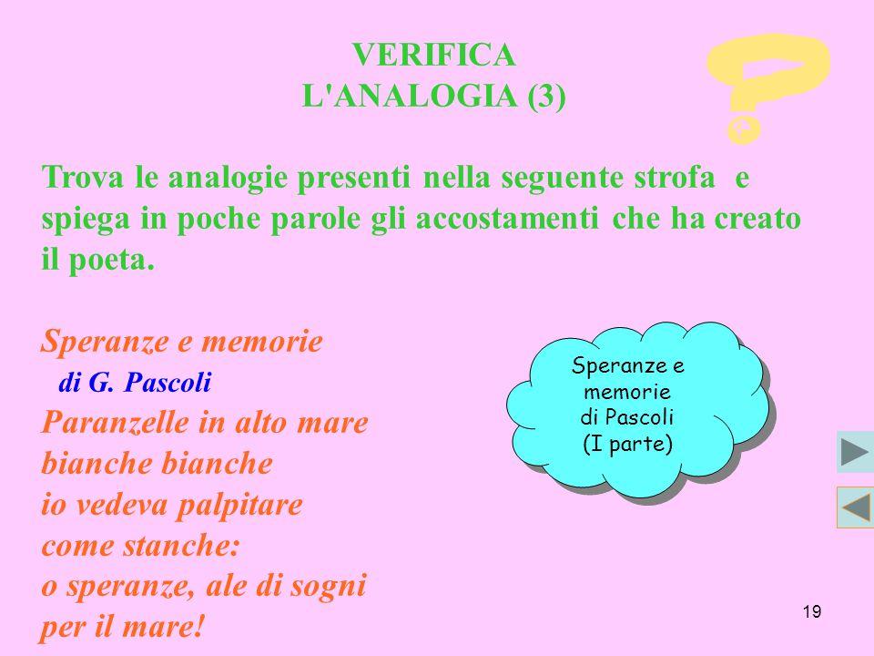 19 VERIFICA L'ANALOGIA (3) Trova le analogie presenti nella seguente strofa e spiega in poche parole gli accostamenti che ha creato il poeta. Speranze