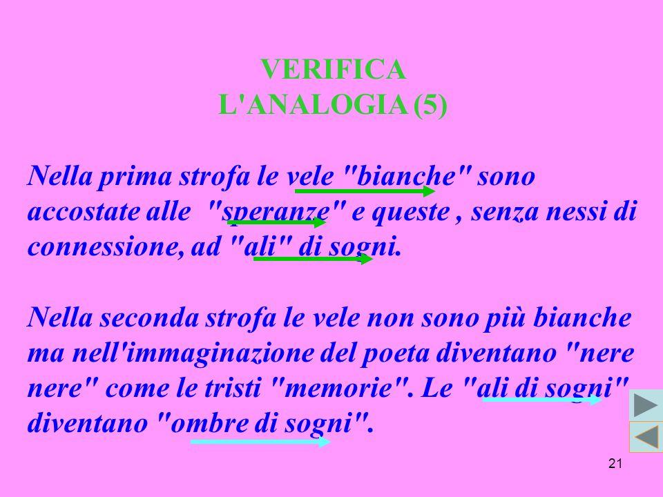 21 VERIFICA L ANALOGIA (5) Nella prima strofa le vele bianche sono accostate alle speranze e queste, senza nessi di connessione, ad ali di sogni.
