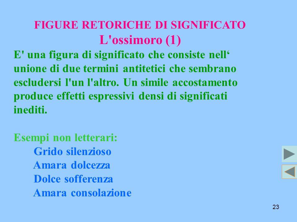 23 FIGURE RETORICHE DI SIGNIFICATO L'ossimoro (1) E' una figura di significato che consiste nell unione di due termini antitetici che sembrano esclude