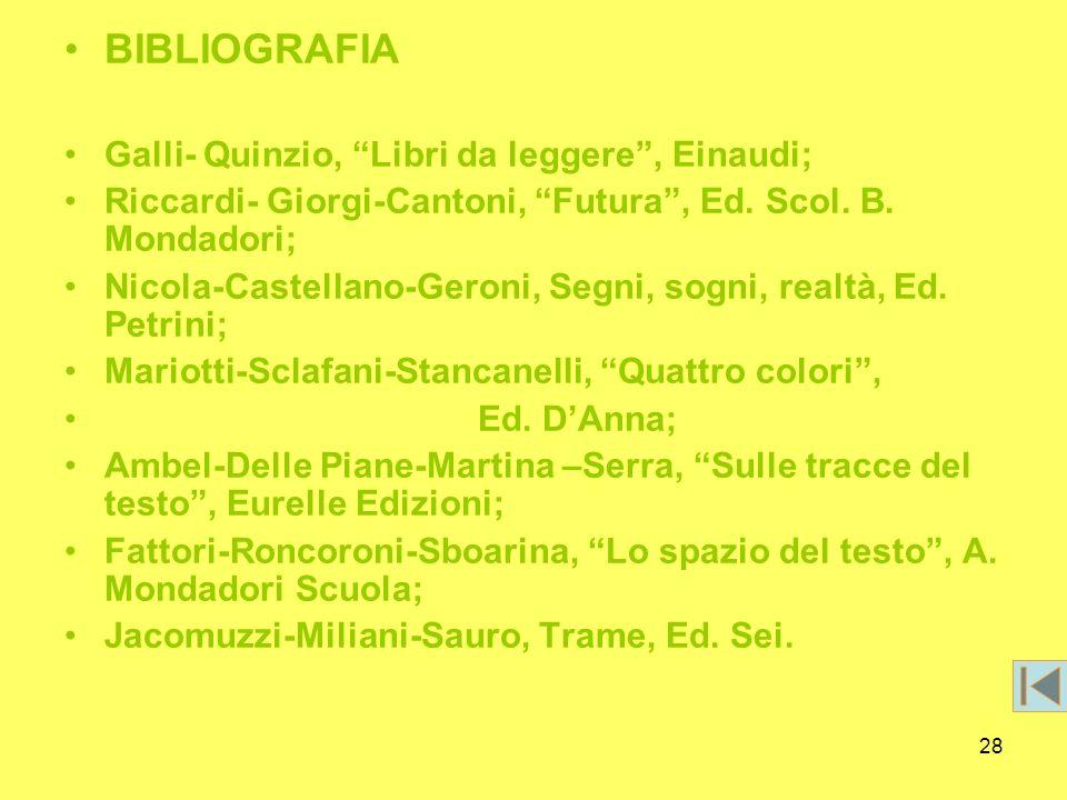 28 BIBLIOGRAFIA Galli- Quinzio, Libri da leggere, Einaudi; Riccardi- Giorgi-Cantoni, Futura, Ed. Scol. B. Mondadori; Nicola-Castellano-Geroni, Segni,