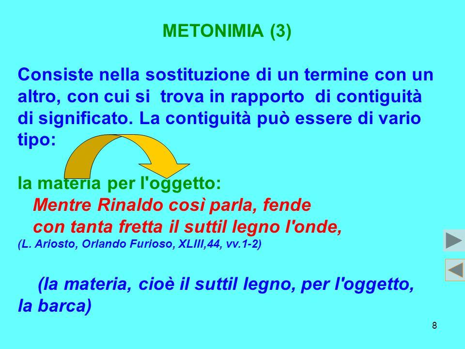 8 METONIMIA (3) Consiste nella sostituzione di un termine con un altro, con cui si trova in rapporto di contiguità di significato. La contiguità può e