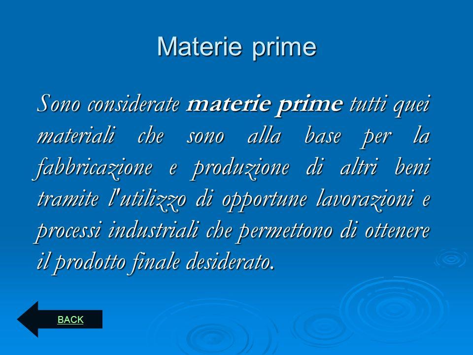 Materie prime Sono considerate materie prime tutti quei materiali che sono alla base per la fabbricazione e produzione di altri beni tramite l'utilizz
