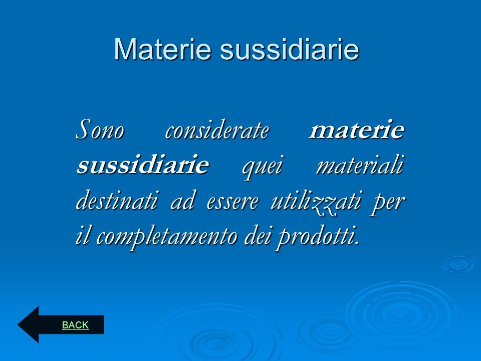 Materie sussidiarie Sono considerate materie sussidiarie quei materiali destinati ad essere utilizzati per il completamento dei prodotti. BACK